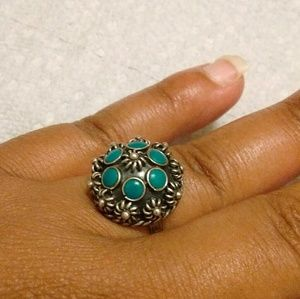 Vtg OOAK Mexico Sterling Silver Flower Ring